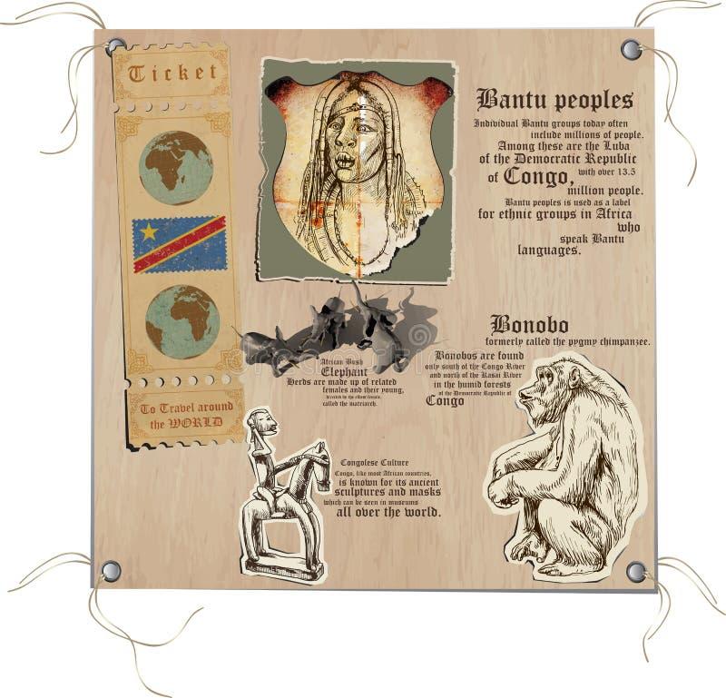 Конго - изображения жизни иллюстрация вектора