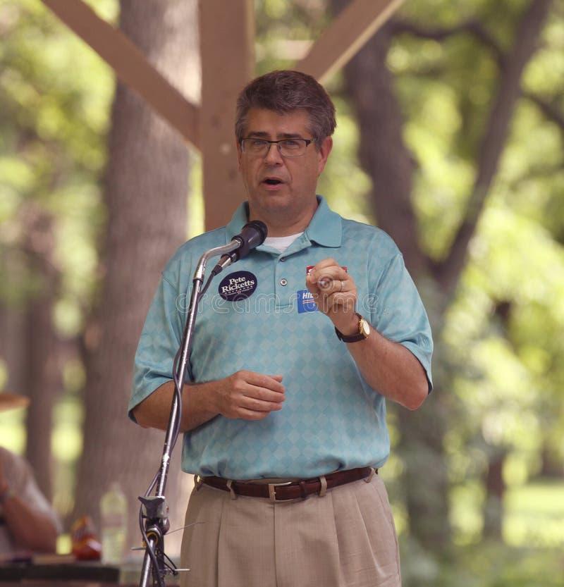 Конгрессмен Ли Терри говоря на ралли чаепития стоковое изображение rf