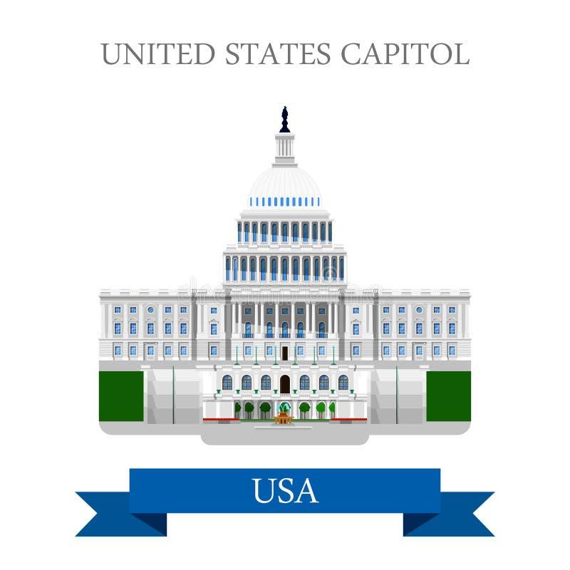 Конгресс капитолия Соединенных Штатов в векторе DC США Вашингтона плоском бесплатная иллюстрация