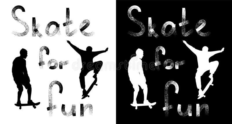 Конек надписи ради веселья Текст Grunge текстурированный стилем Установите силуэтов скейтбордистов на черно-белой предпосылке иллюстрация штока