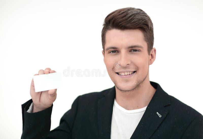 конец вверх визитная карточка его показ человека стоковое фото