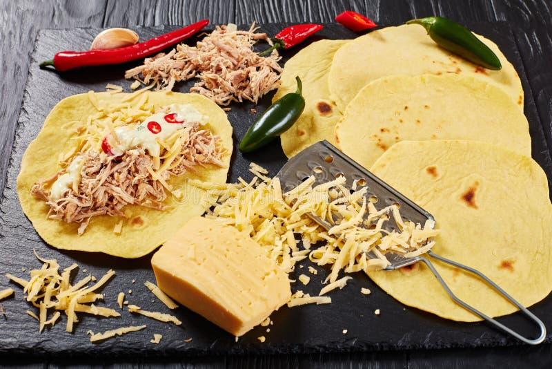 Конец-вверх вкусных домодельных tortillas мозоли стоковое изображение