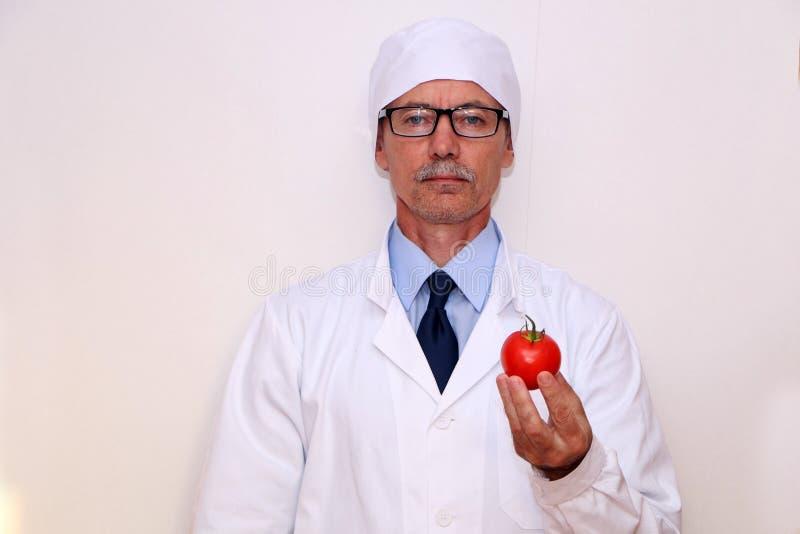 Конец-вверх - доктор держит овощи и плоды стоковое изображение