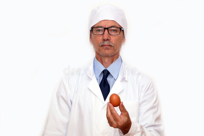 Конец-вверх - доктор держит яйцо диеты в его руках стоковые фото