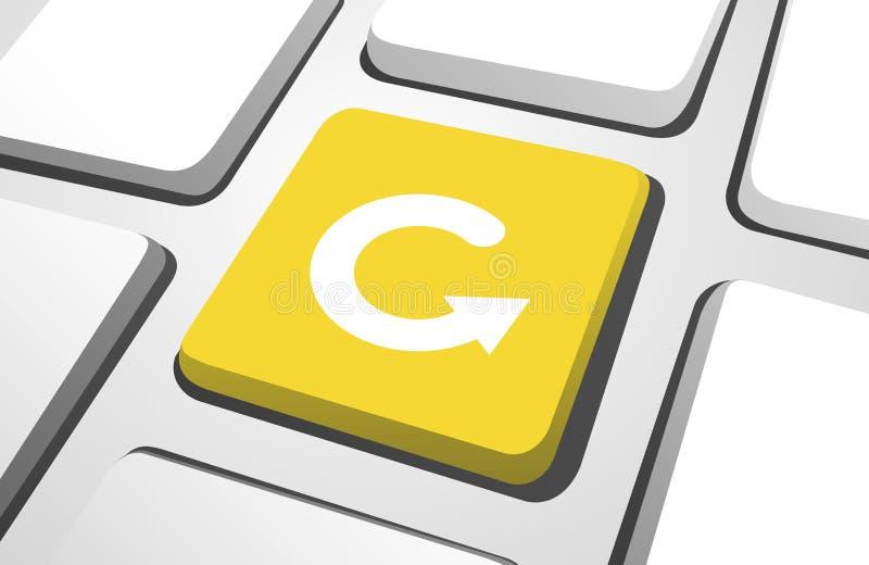 Конец-Вверх кнопки возвращения желтого цвета иллюстрация штока