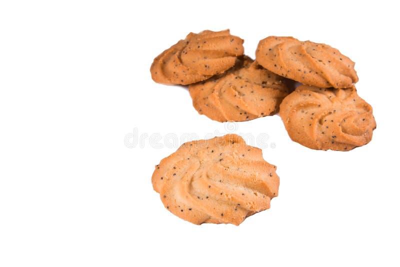 Конец-вверх круглых сладостных печений на белой предпосылке Выпечка, еда стоковая фотография