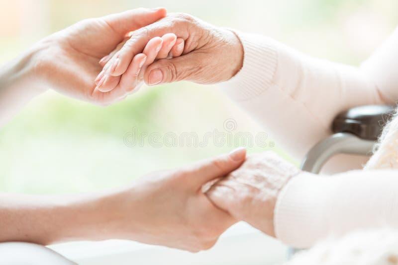 Конец-вверх молодой женщины и старшей дамы держа руки с t стоковая фотография rf