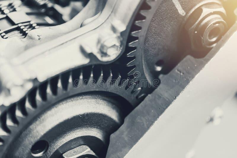 Конец-вверх муфты шестерни автомобиля корабля роторный внутри двигателя стоковые фото