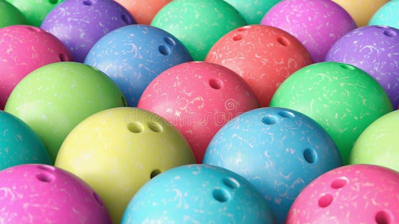 Конец вверх на плотно упакованном массиве красочных шариков боулинга иллюстрация штока