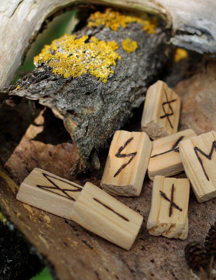 Конец-вверх на rune Soulu деревянном, который лежат на сухой коре от дерева Рядом с другими runes и желтым мхом на коре runic стоковые фотографии rf