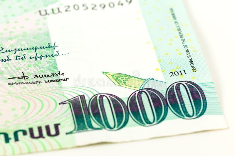 Конец-вверх одиночного obverse банкноты драхмы 1000 армянках стоковое изображение rf