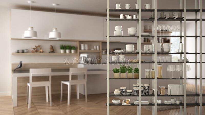 Конец-вверх переднего плана системы shelving живущей комнаты кухни, конструктивная схема дизайна интерьера, план белой современно бесплатная иллюстрация