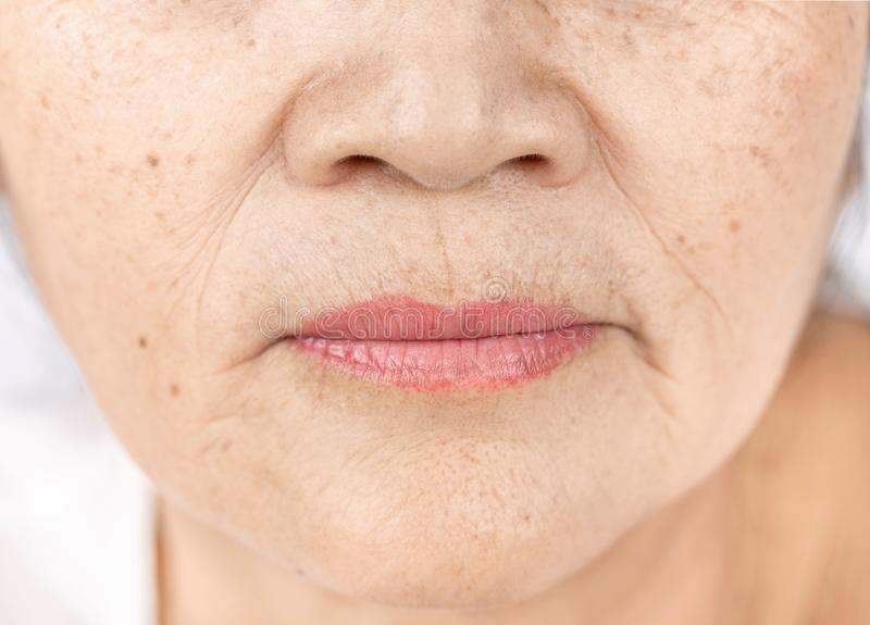 Конец вверх по морщинке кожи и веснушкам старой азиатской стороны женщины стоковые фотографии rf