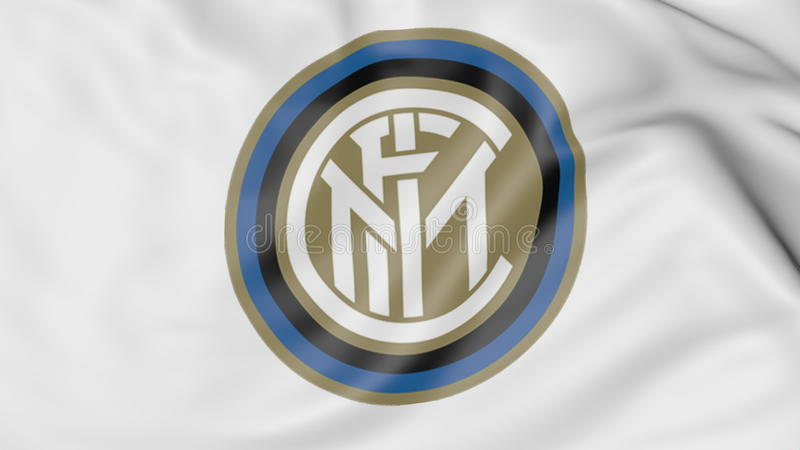 Конец-вверх развевая флага с взаимо- логотипом клуба футбола милана, переводом 3D иллюстрация вектора