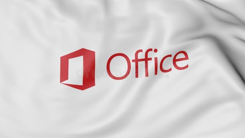 Конец вверх развевая флага с логотипом Майкрософт Офис, переводом 3D иллюстрация штока