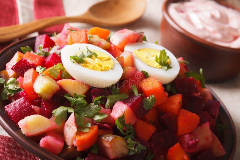 Конец-вверх салата и соуса финского rosolli vegetable горизонтально стоковые фото