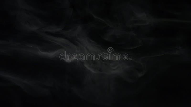 Конец-вверх слоек белого дыма плавая в темноту r на черном стоковое фото rf