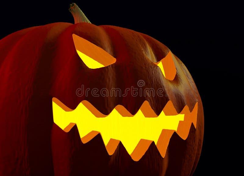 Конец-вверх страшной стороны Джек-o-фонарика хеллоуина накаляя в темноте иллюстрация штока