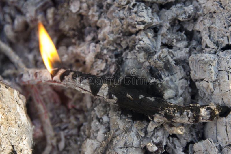 Конец вверх умирая огня с пламенами и тлеющими углями стоковые изображения rf