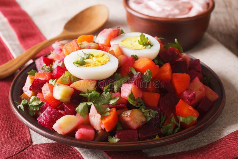 Конец-вверх финского салата rosolli и cream соуса горизонтально стоковые фото