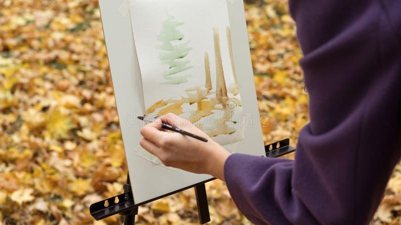 Конец-вверх художника маленькой девочки который красит изображение на мольберте в парке осени стоковые изображения