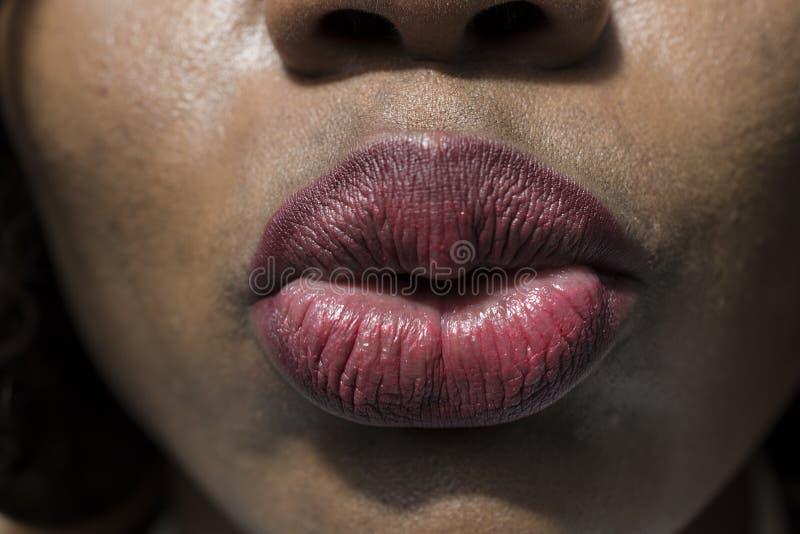 Конец-вверх целовать губ чувственно стоковая фотография