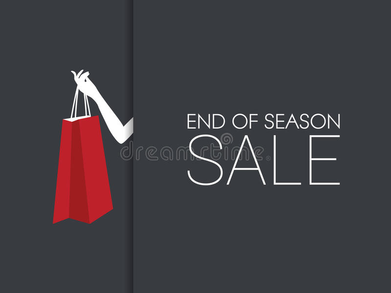 Конец знамени продажи сезона при рука держа хозяйственную сумку и черную предпосылку иллюстрация вектора