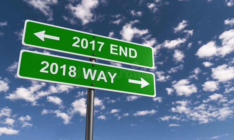 Конец 2017 и старт 2018 иллюстрация вектора