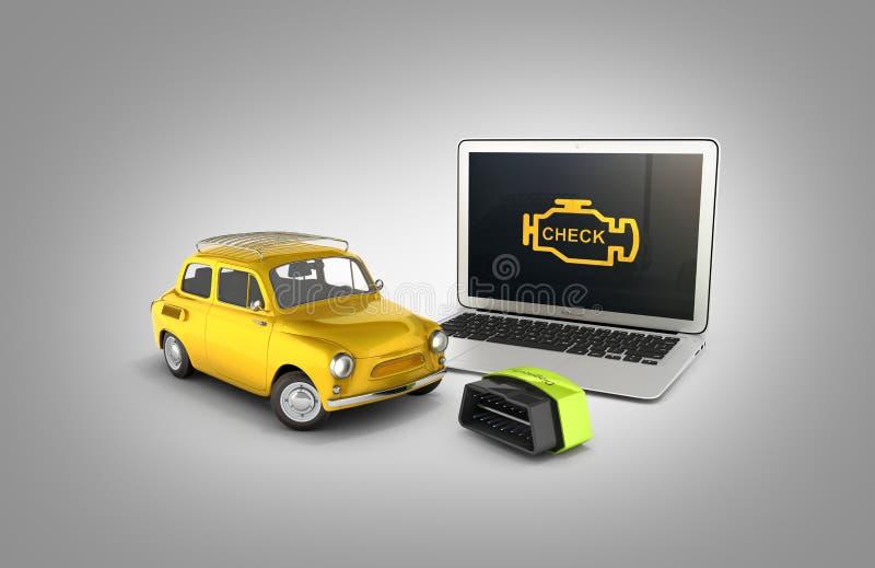 Конец концепции автомобиля диагностический вверх ноутбука с беспроводным блоком развертки OBD2 и ретро автомобилем на серой иллюс стоковая фотография rf