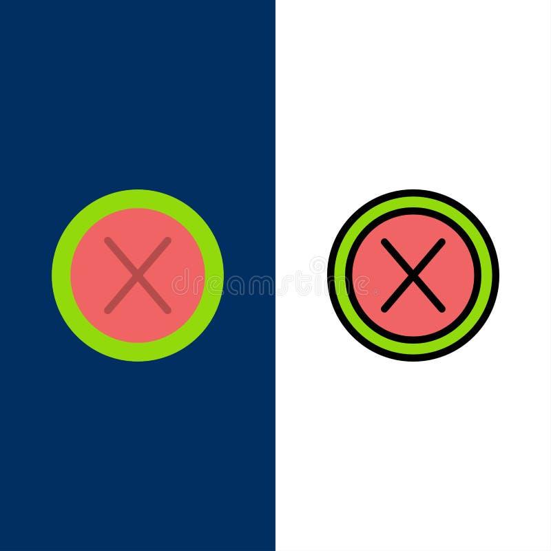 Конец, крест, интерфейс, не, значки потребителя Квартира и линия заполненный значок установили предпосылку вектора голубую иллюстрация штока