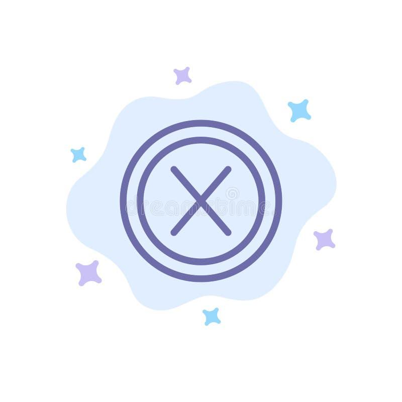 Конец, крест, интерфейс, не, значок потребителя голубой на абстрактной предпосылке облака иллюстрация вектора