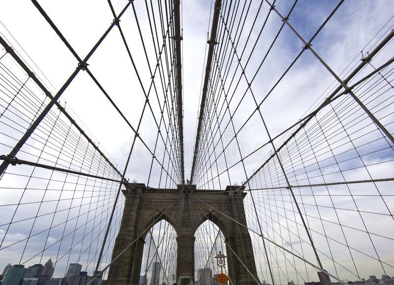 конец новый поднимающий вверх york города brooklyn моста стоковые изображения rf
