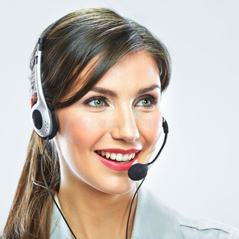 Конец оператора работы с клиентом вверх по портрету smili центра телефонного обслуживания стоковое фото