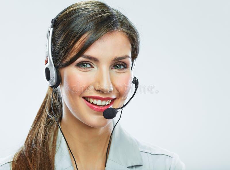 Конец оператора работы с клиентом вверх по портрету smili центра телефонного обслуживания стоковые фотографии rf