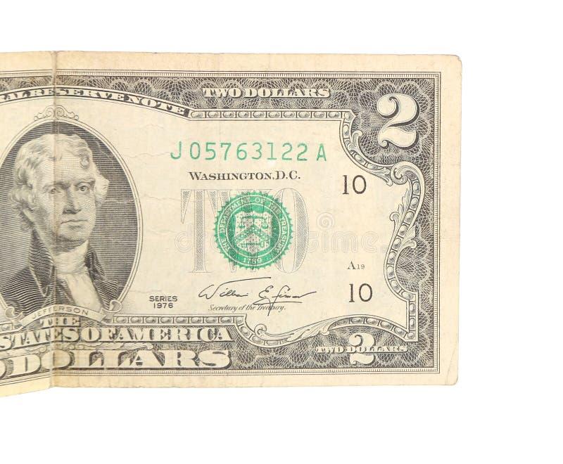Конец 2 долларовых банкнот стоковые изображения
