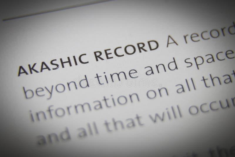 Конец показателя Akashic слов вверх на бумаге стоковая фотография