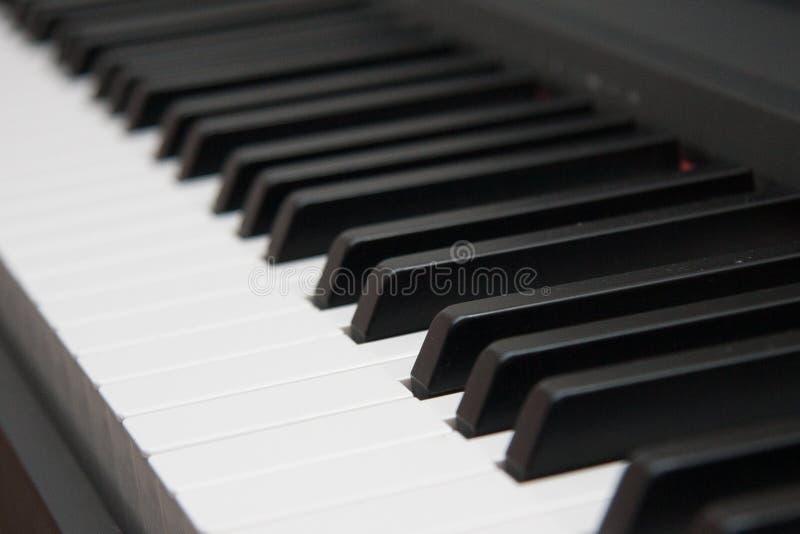 конец пользуется ключом рояль вверх близкий прифронтовой взгляд черная белизна стоковая фотография rf