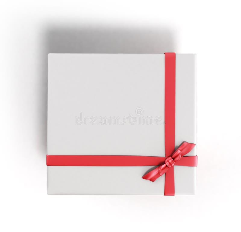 Конец подарочной коробки белого квадрата с красным rende 3d ленты и смычка верхним иллюстрация вектора