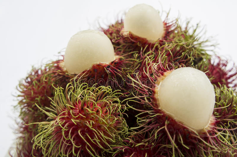 Конец плодоовощ рамбутана тропический вверх по сладостной красной тайской концепции стоковая фотография