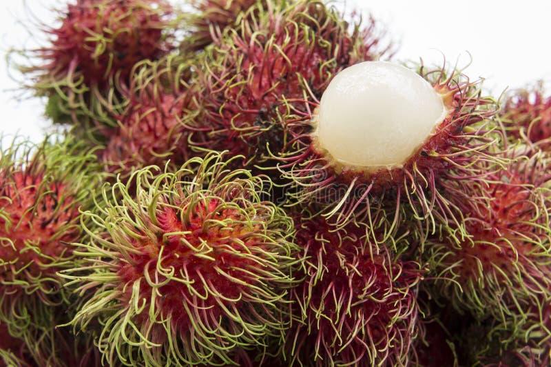 Конец плодоовощ рамбутана тропический вверх по сладостной красной тайской концепции стоковые изображения rf