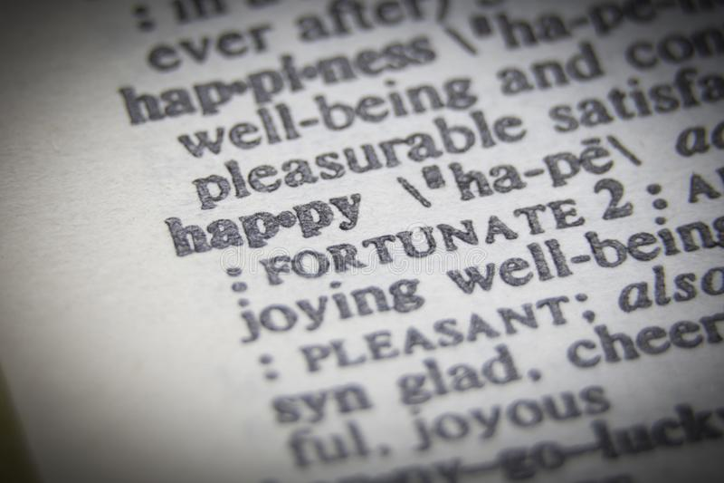 Конец слова счастливый вверх на бумаге стоковая фотография