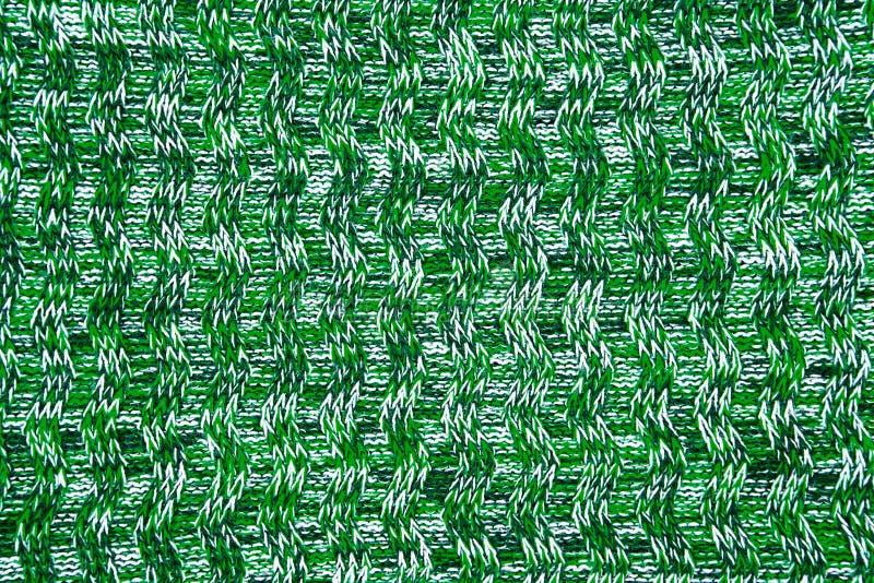 Конец текстуры шарфа или свитера шерстей вверх связанный зеленым цветом bac jersey стоковое фото rf