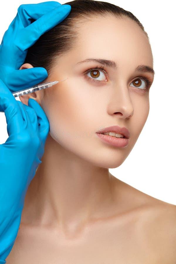Конец хирургии стороны женщины красоты вверх по портрету стоковое изображение