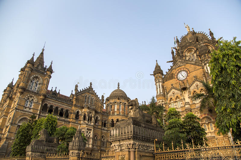 Конечная станция на Мумбае, Индия Chhatrapati Shivaji стоковое фото