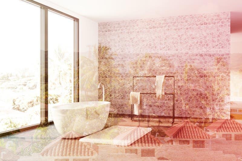 Конкретная ванная комната, белый ушат, двойник просторной квартиры иллюстрация вектора