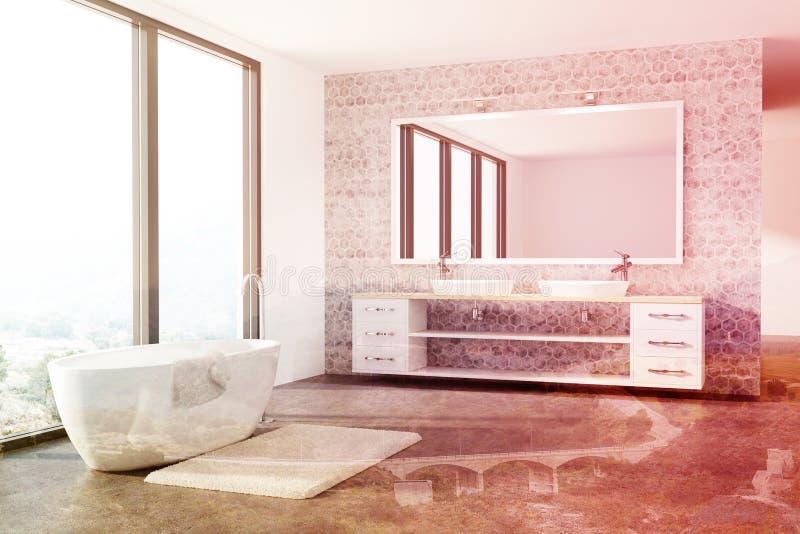 Конкретная ванная комната, белый ушат, раковина, тонизированная просторная квартира иллюстрация штока