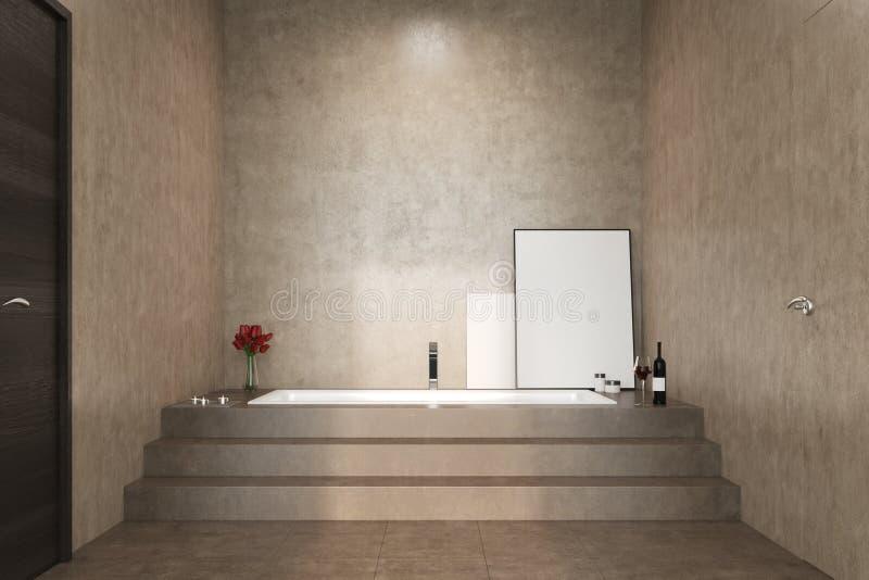Конкретная ванная комната, лестницы и ушат иллюстрация вектора