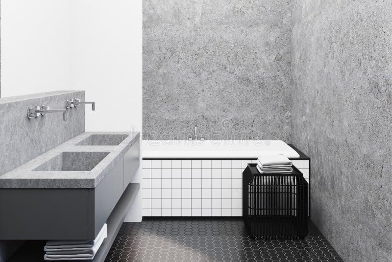 Конкретная ванная комната, крыть черепицей черепицей ушат и раковина иллюстрация вектора