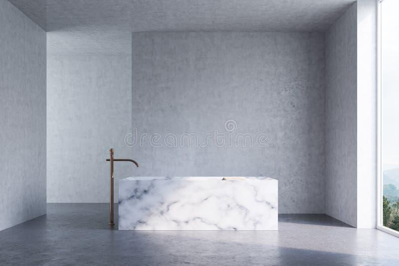 Конкретная ванная комната, мраморный ушат иллюстрация вектора
