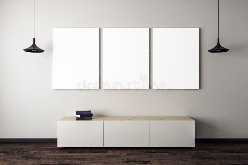 Конкретная живущая комната с 3 плакатами иллюстрация штока